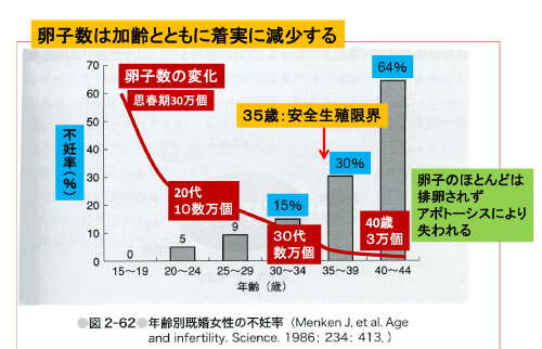 加齢による卵子数と不妊率